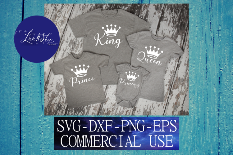 king and queen, matching family svg, prince, princess, svg example image 1