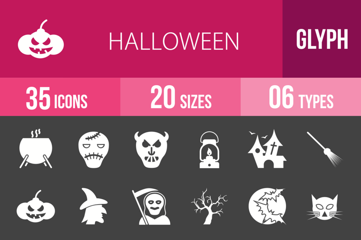 35 Halloween Glyph Inverted Icons example image 1