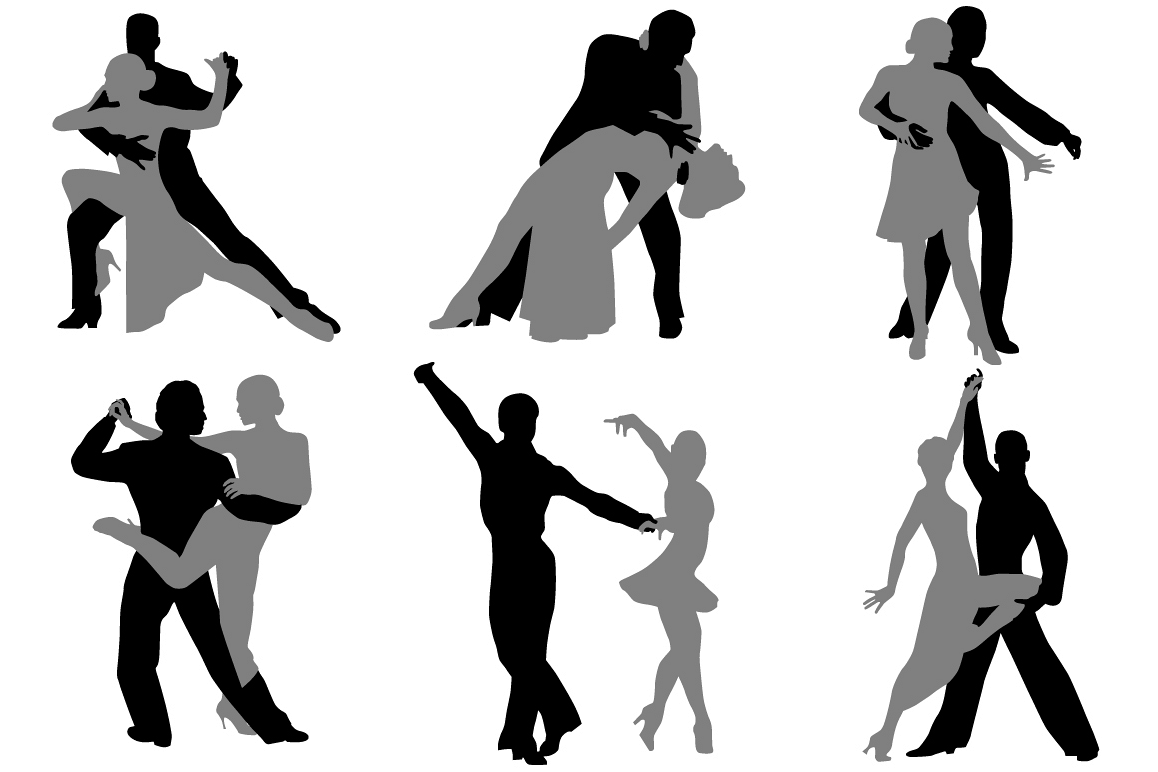 Dancing couples silhouette example image 1