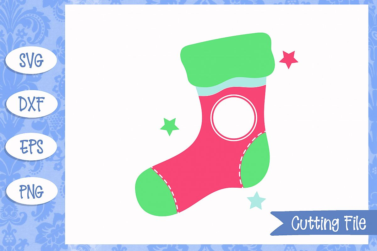 Christmas Stocking Monogram Cut File example image 1