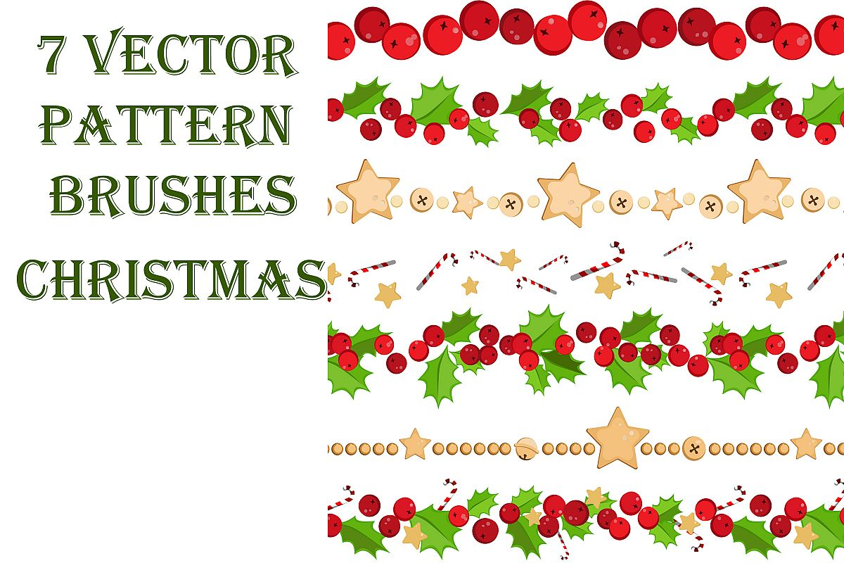 7 Vector Pattern Christmas Brushes example image 1