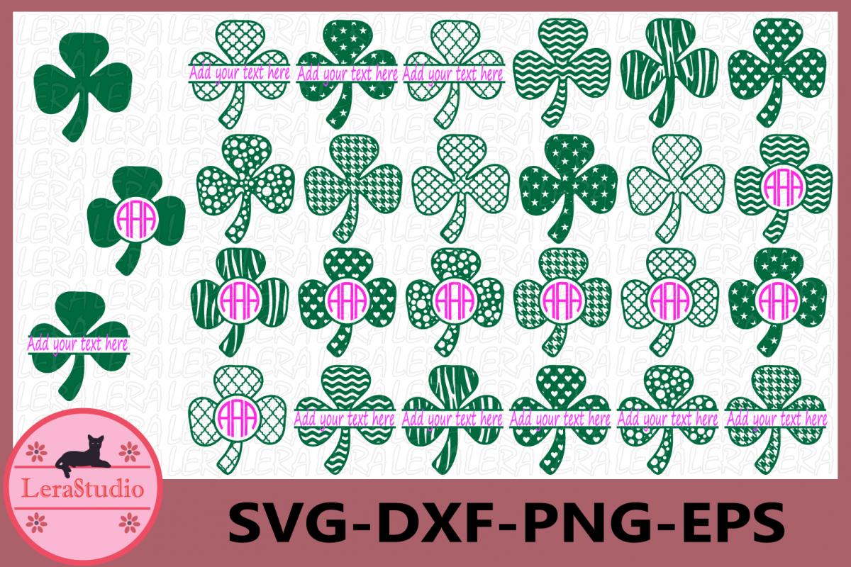 Clover SVG, Monogram Shamrock svg, Shamrock Clover svg example image 1