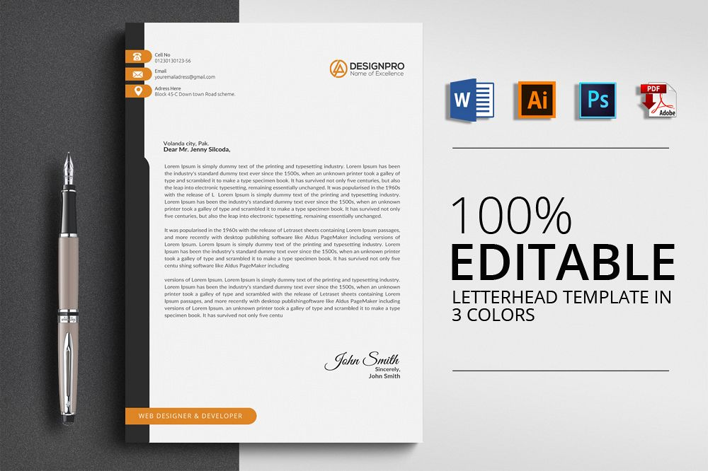 Letterhead Microsoft Word example image 1