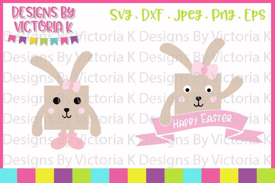 Easter, Box Bunnies, SVG, DXF, PNG example image 1
