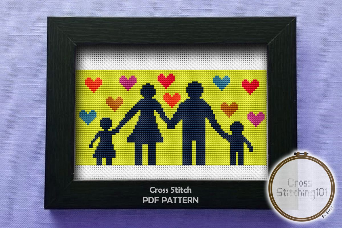 Happy Family Cross Stitch Pattern- Instant Download PDF example image 1