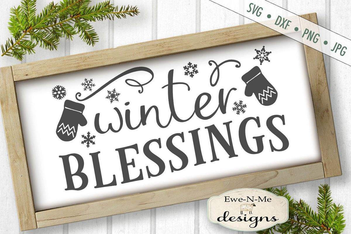 Winter Blessings - Mittens - SVG DXF Files example image 1