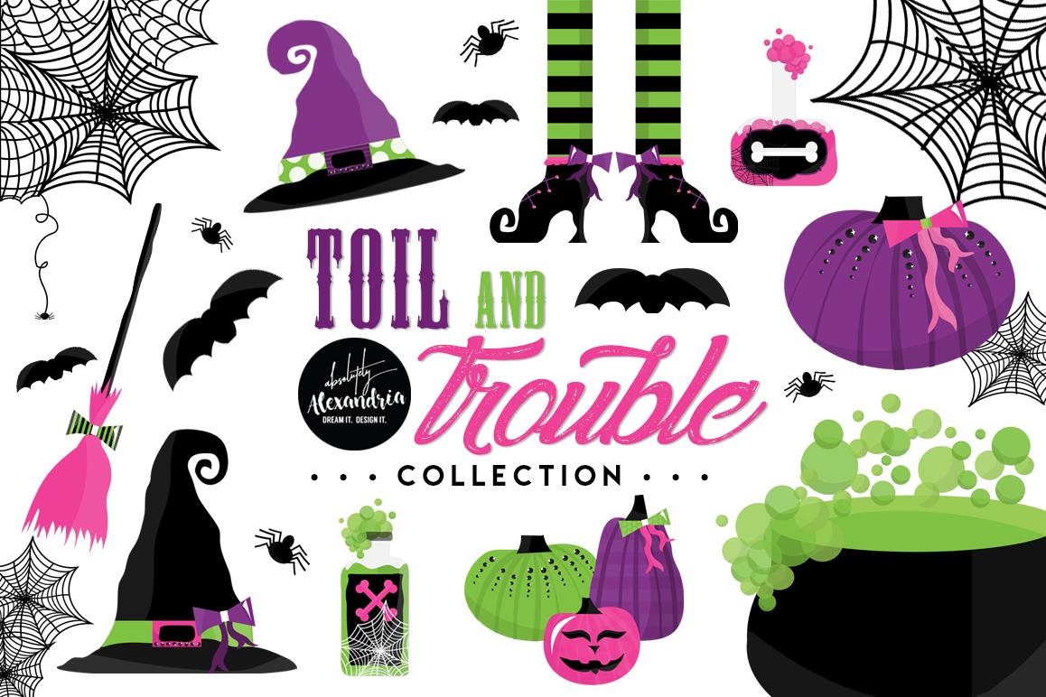 Toil & Trouble Clipart Graphics & Digital Paper Patterns Bundle example image 1