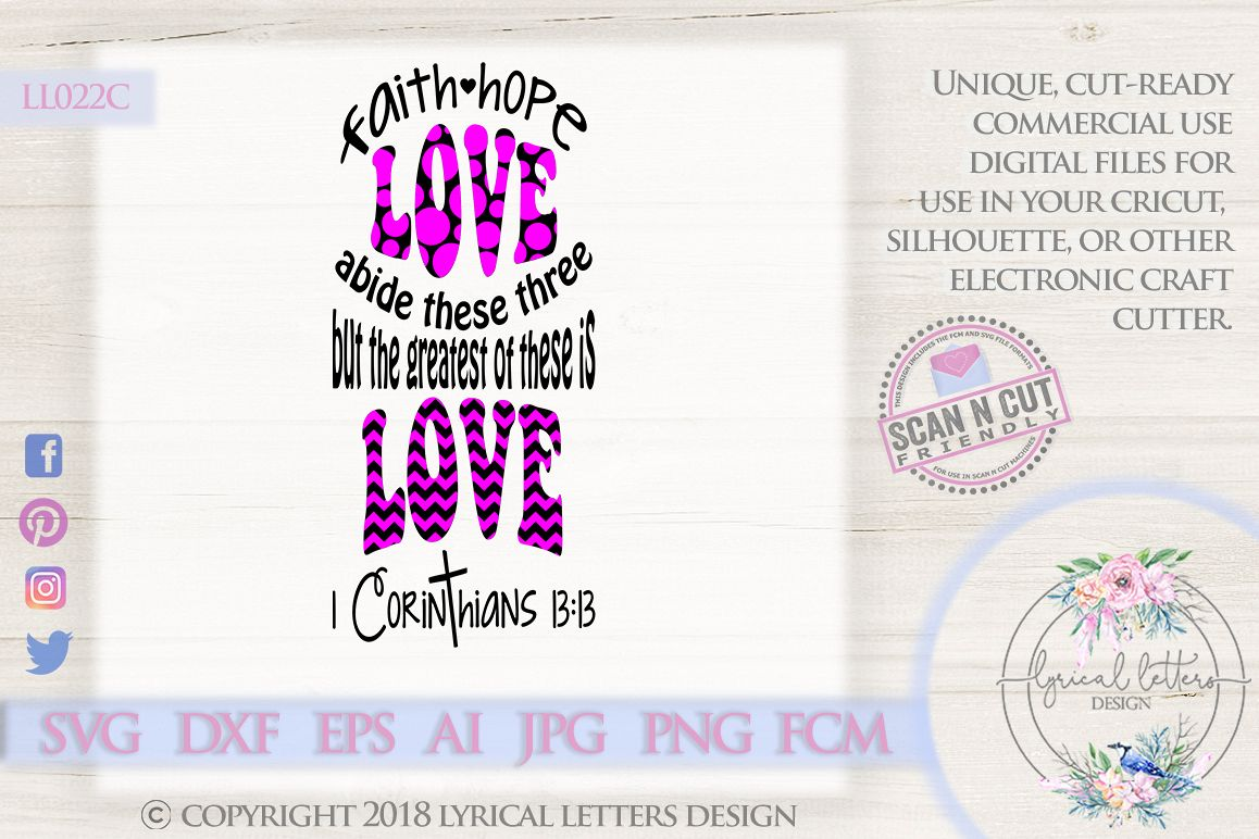 Greatest of These Is Love 1 Corinthians 13 SVG DXF LL022C example image 1