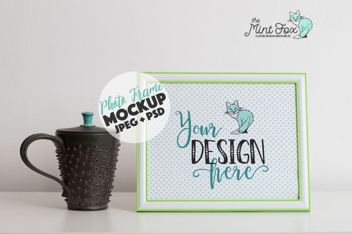 Photo Frame Mockup with Coffee Mug example image 1