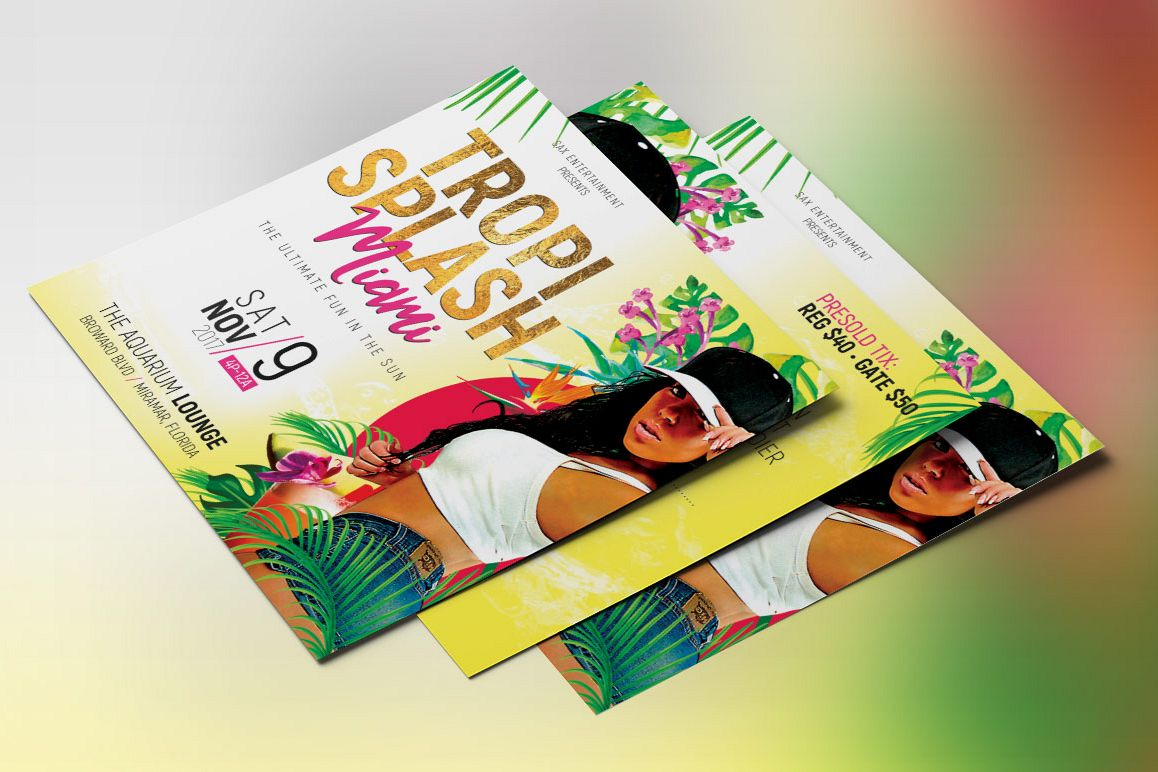 tropical party small flyer template