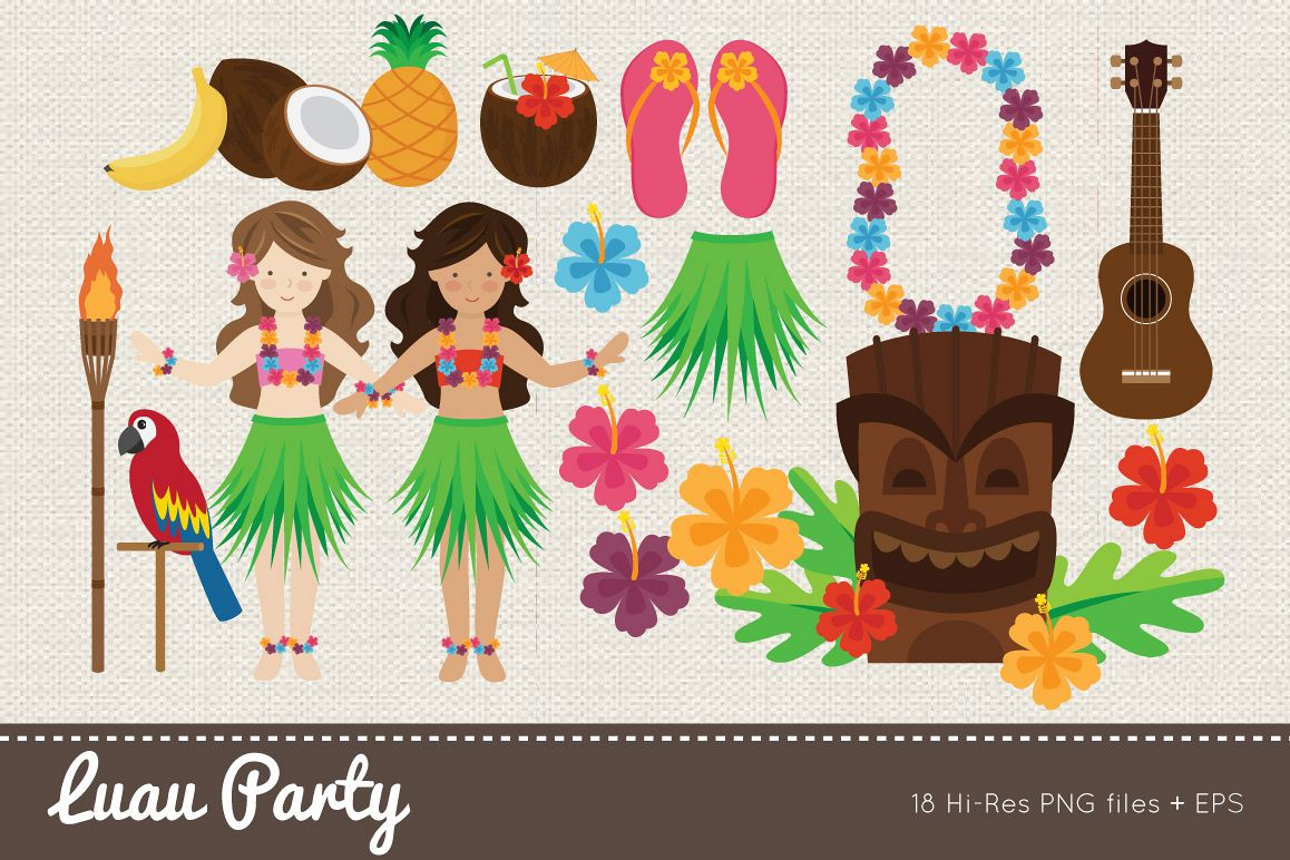 Luau Party Clipart example image 1