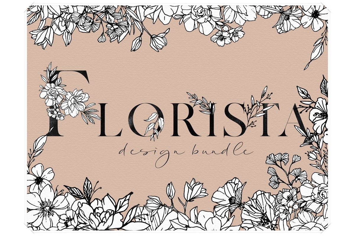 Floral Design Bundle - Monogram Letters Clipart example image 1