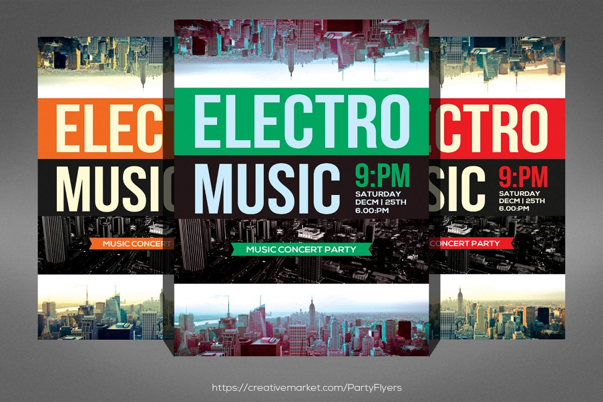 Modern Electro Music Flyer example image 1