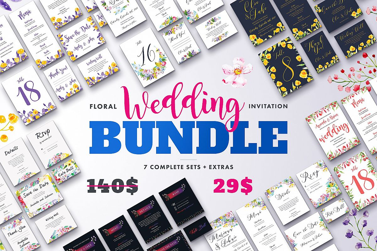 Floral Wedding Invitation Bundle example image 1