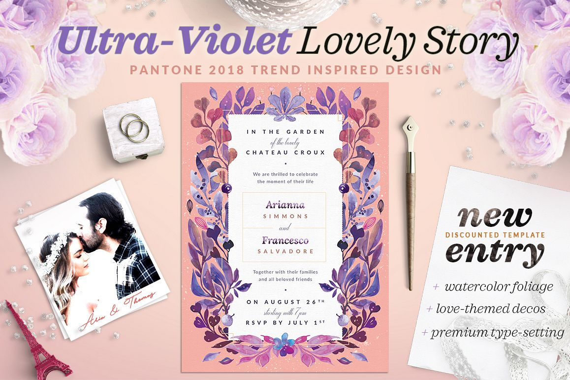 Ultra-Violet Lovely Story Invite I example image 1