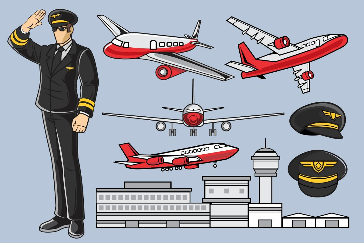 Pilot Airplane Vector Pack example image 1