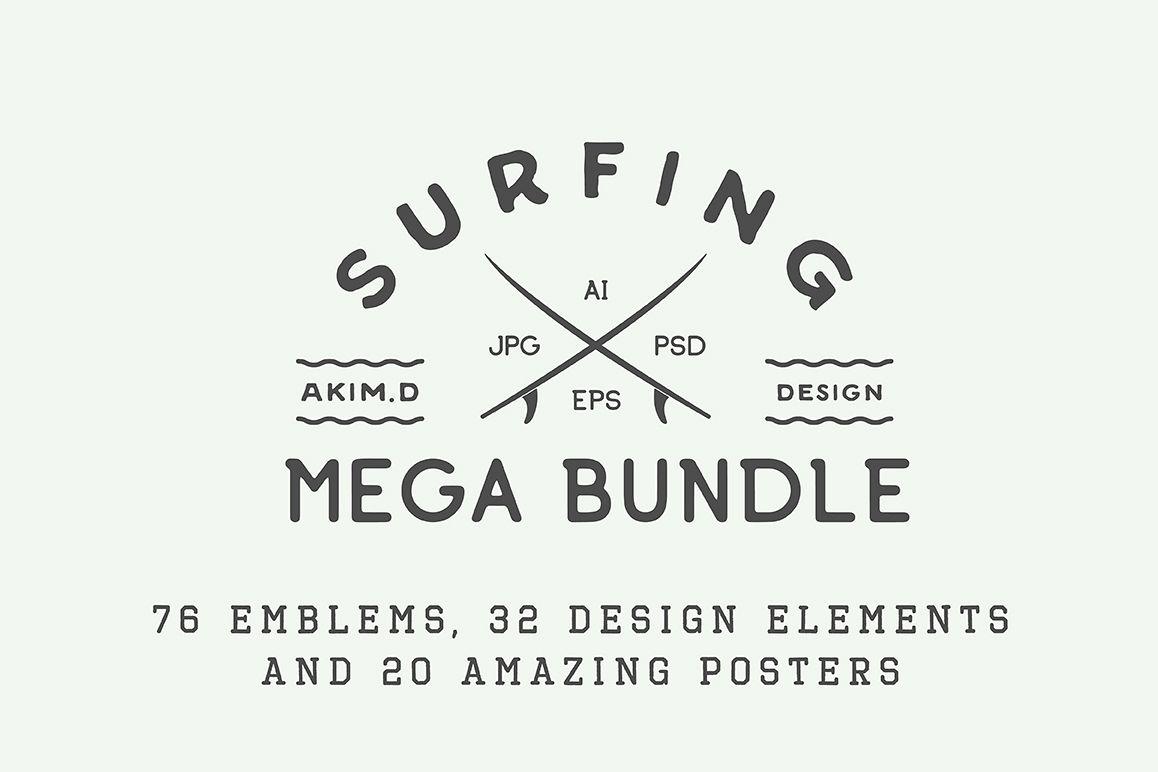 Vintage Surfing Emblems Bundle example image 1