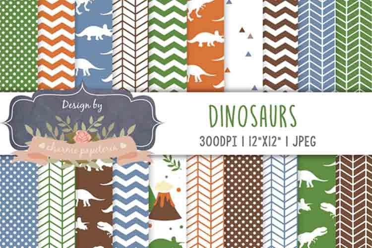 Dinosaur Digital paper, dinosaur background, jurastic example image 1