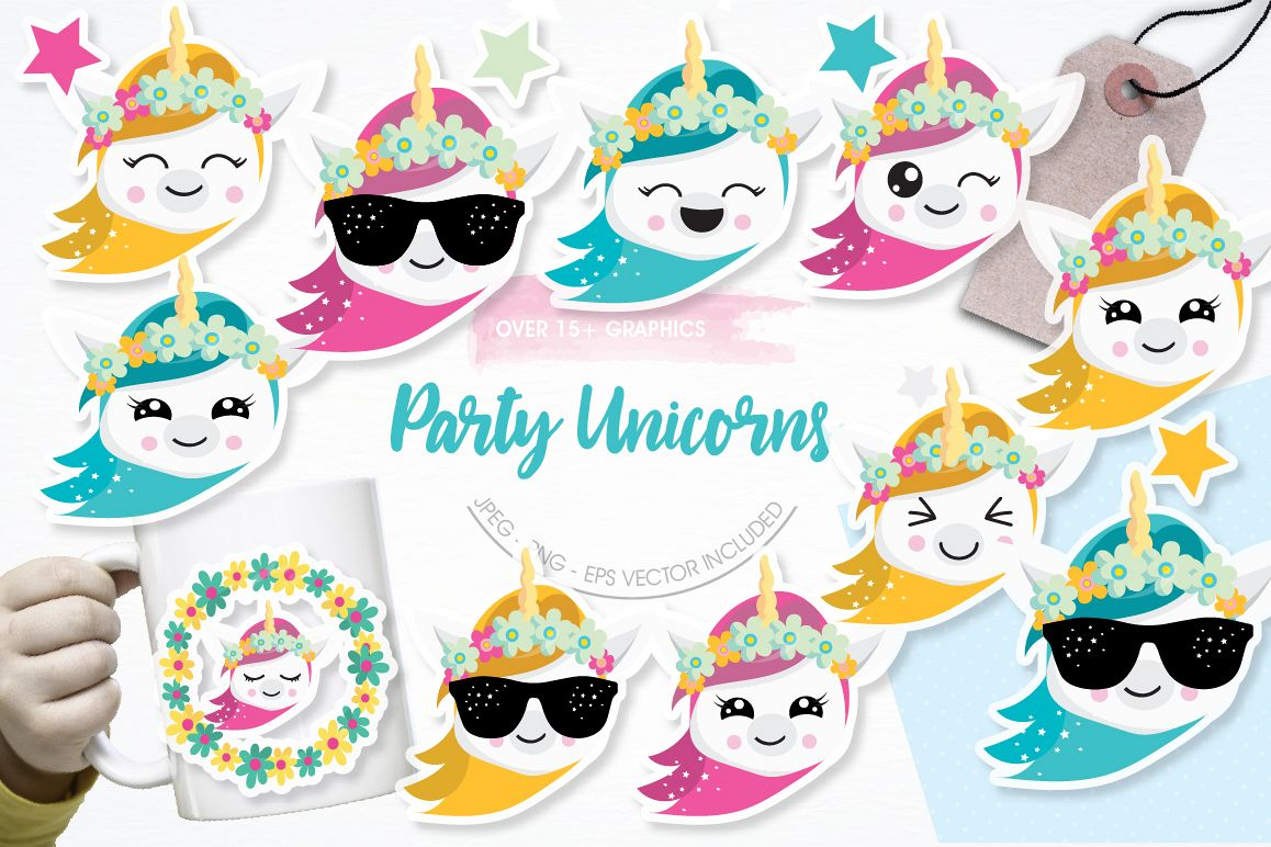 Party Unicorns graphics and illustrations example image 1