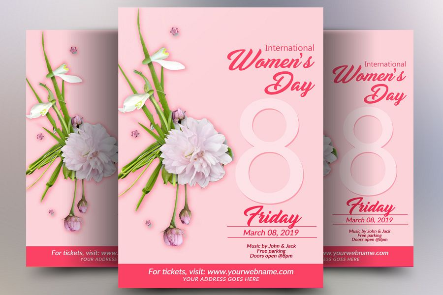 Pink Women's Day Flyer example image 1