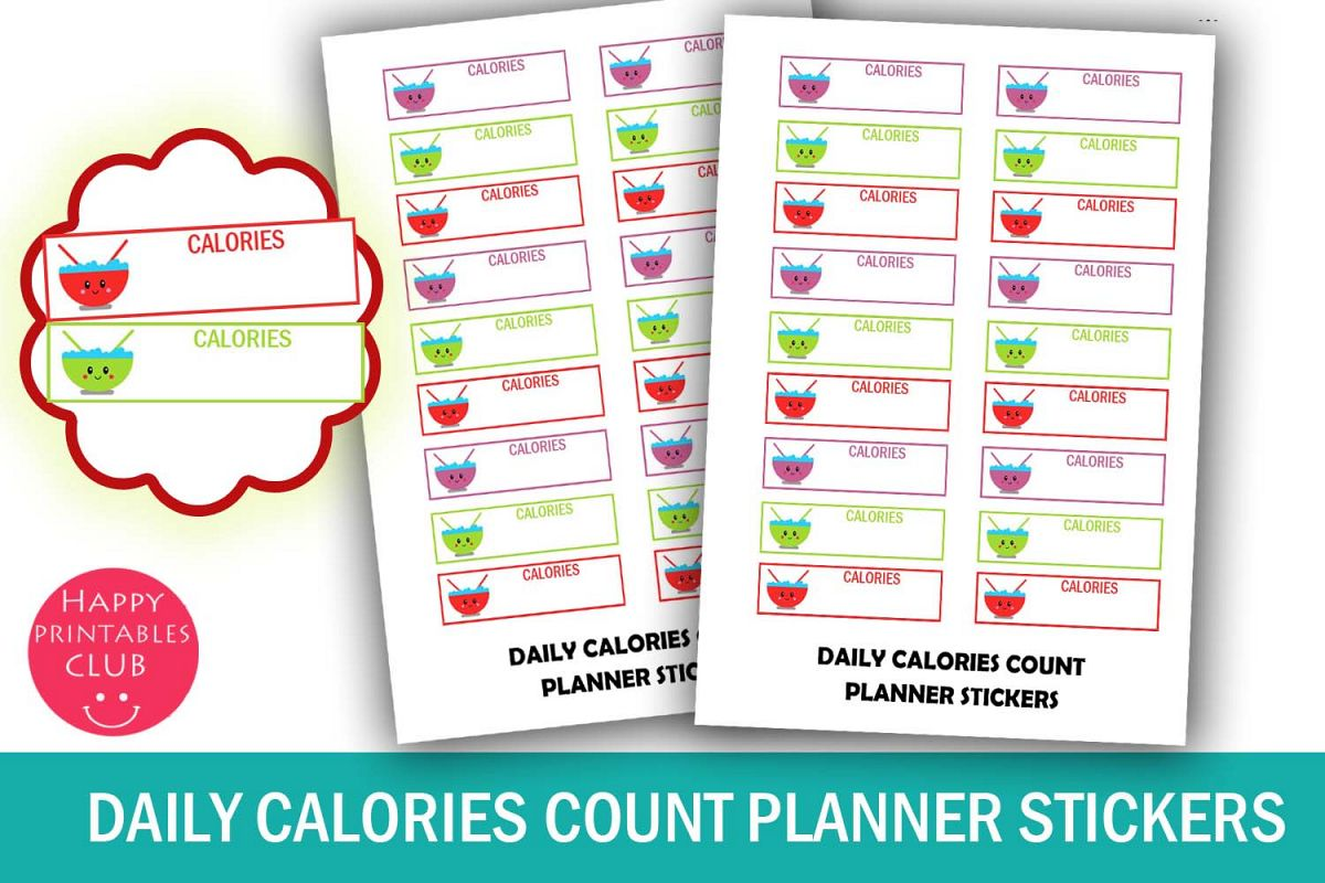 Daily Calories Count Planner Stickers-Cute Calories Tracker example image 1