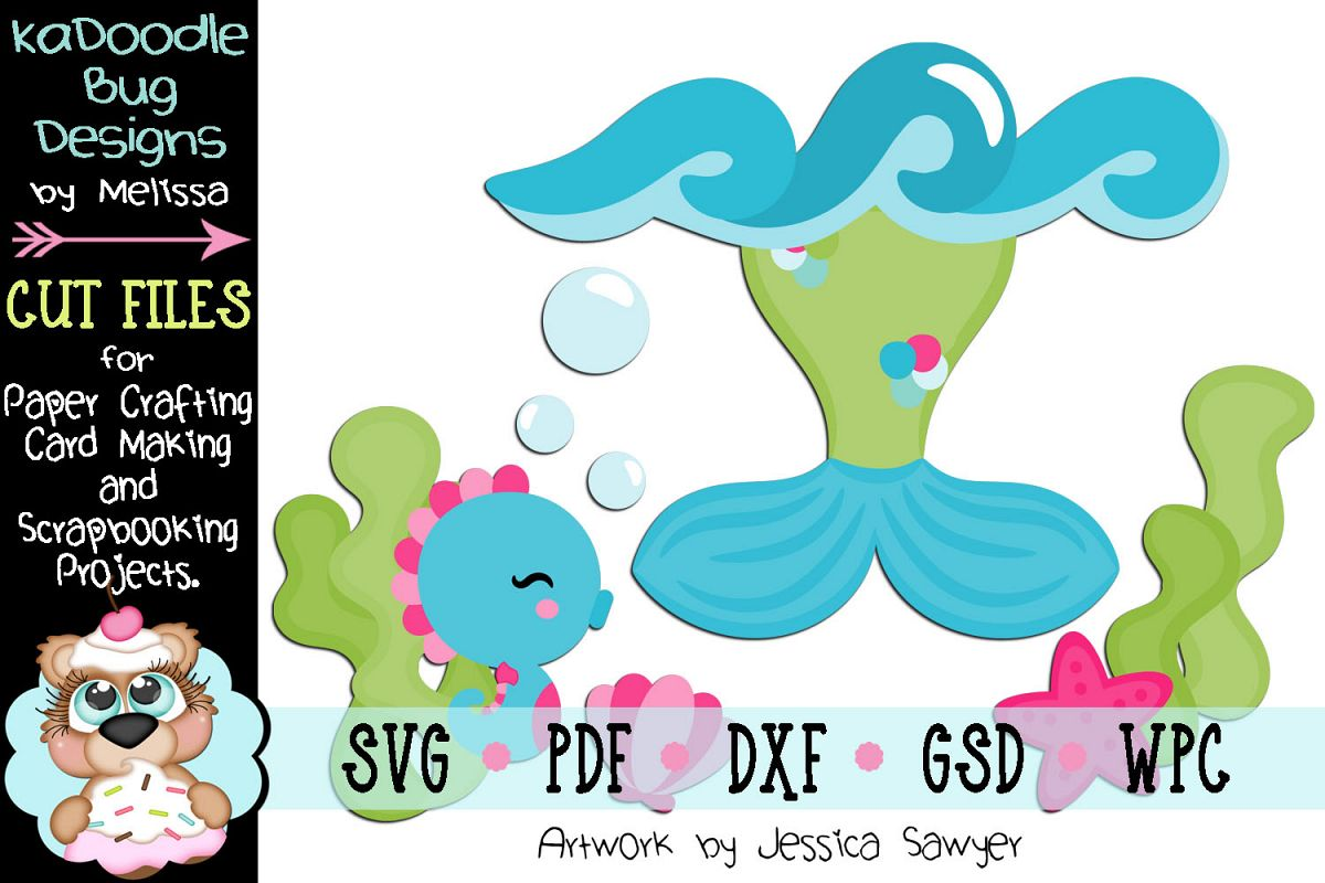 Underwater Mermaid Tail Cut File - SVG PDF DXF GSD WPC example image 1