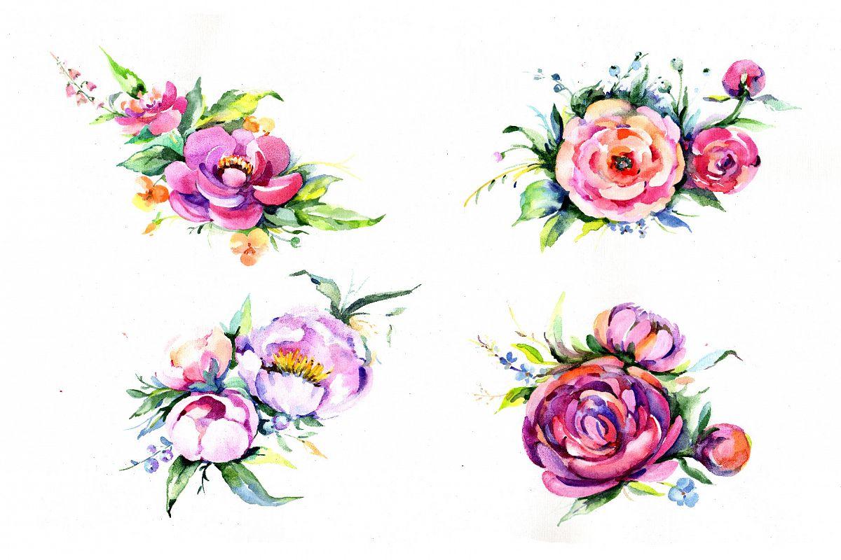 Elegant bouquet pink flower png waterco design bundles elegant bouquet pink flower png watercolor set example image mightylinksfo