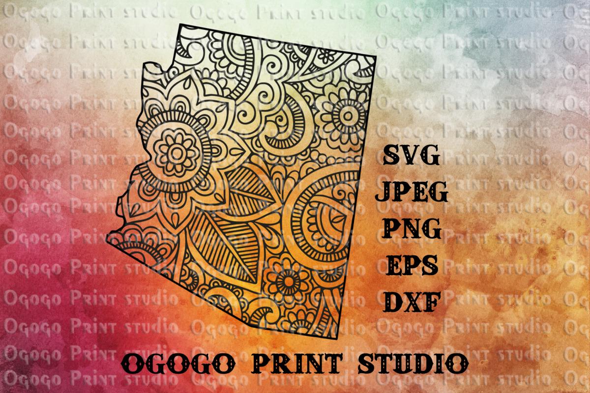 Arizona SVG, Zentangle SVG, Travel svg, Mandala svg example image 1