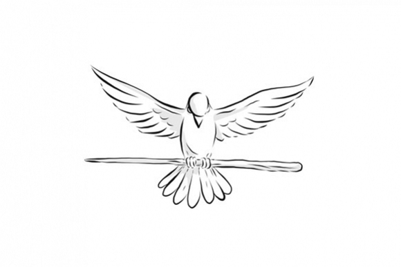 Soaring Dove Clutching Staff Front Drawing example image 1