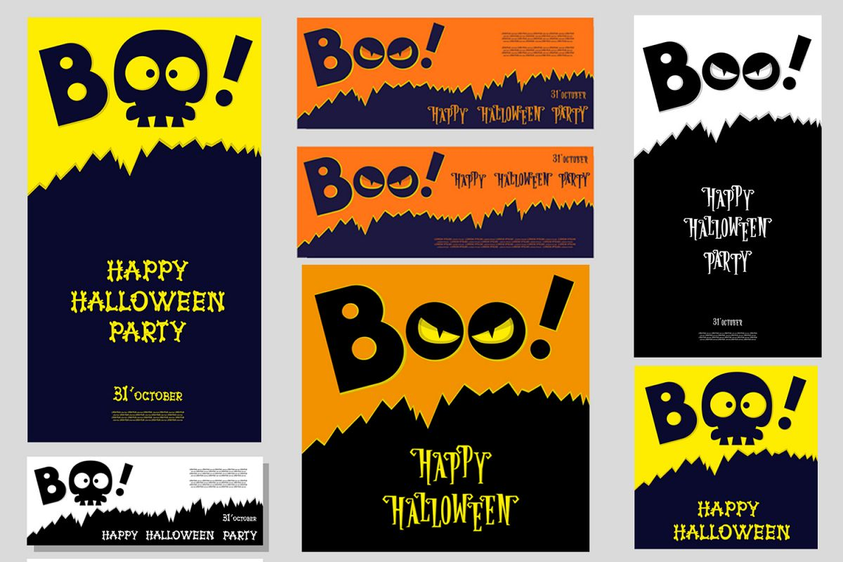 Set of 28 Halloween banner different color and character example image 1