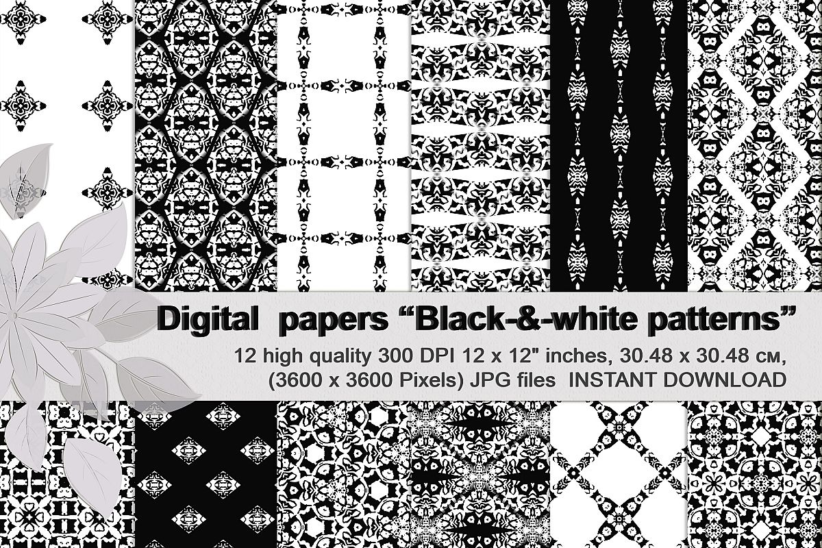 Black and white Digital Scrapbook Paper example image 1