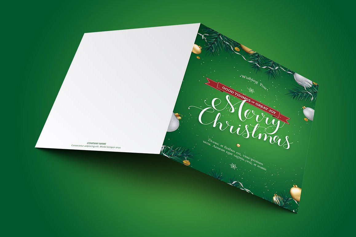 Green Christmas Greeting Card Template example image 1
