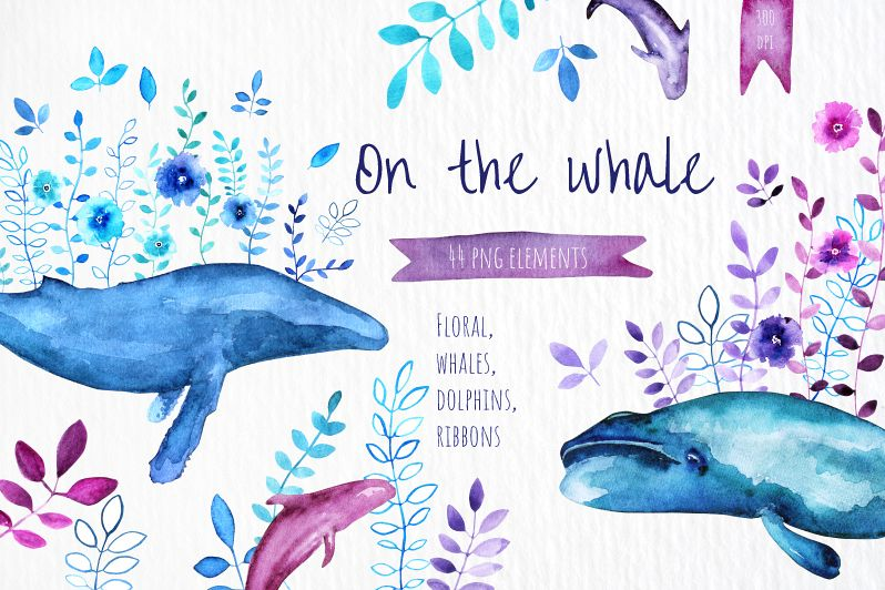 On the Whale - Watercolor set example image 1