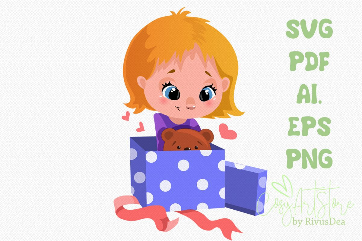 Cute Girl opening Christmas or birthday gift svg example image 1