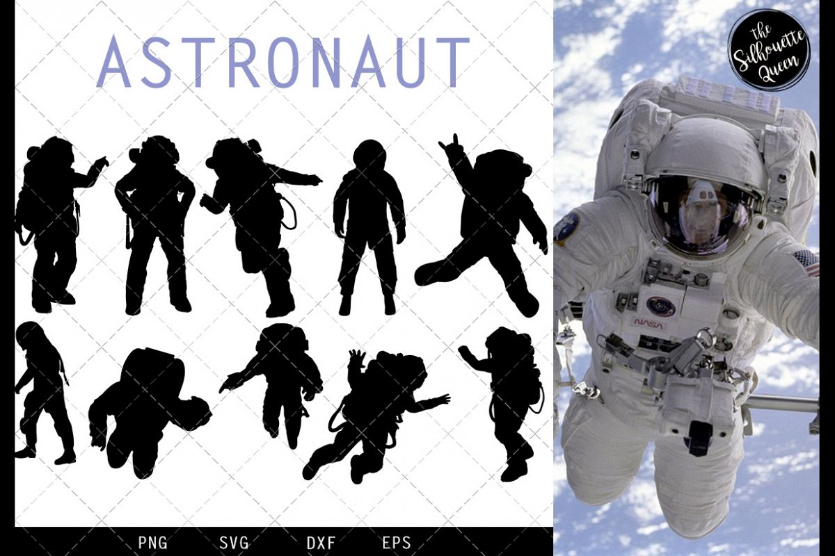Astronaut svg file, svg cut file, silhouette studio example image 1