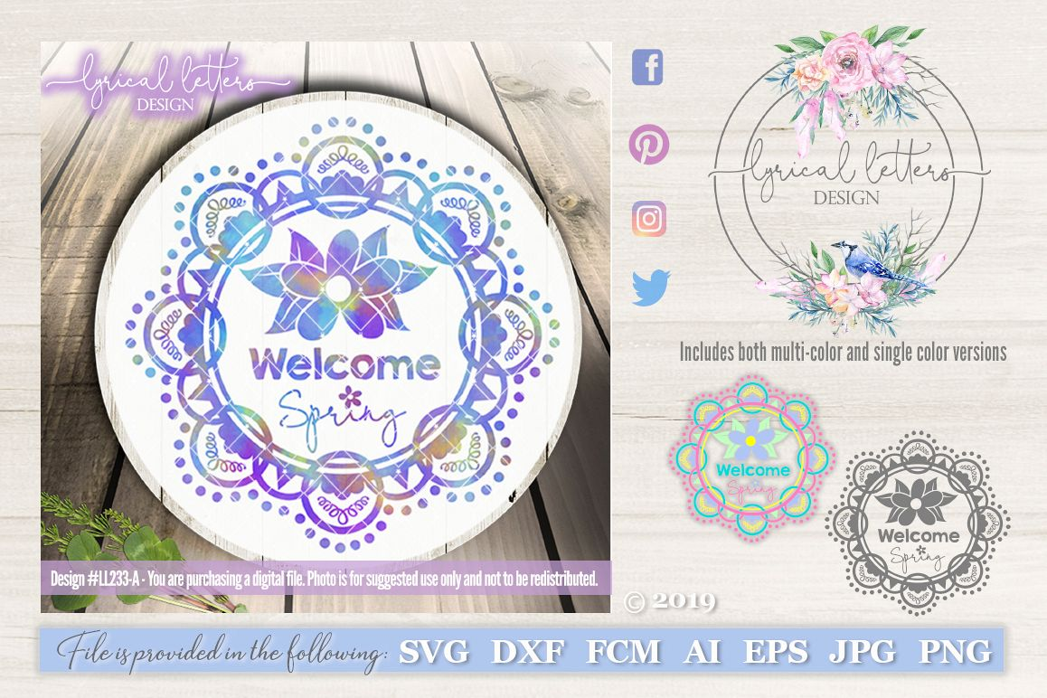 Welcome Spring Wreath SVG DXF FCM LL233A example image 1
