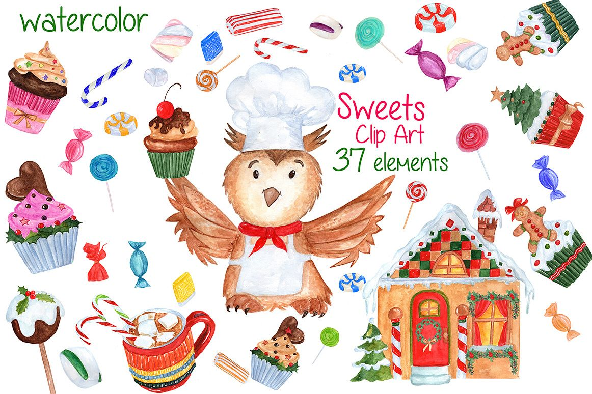 Watercolor Christmas Sweets clipart example image 1