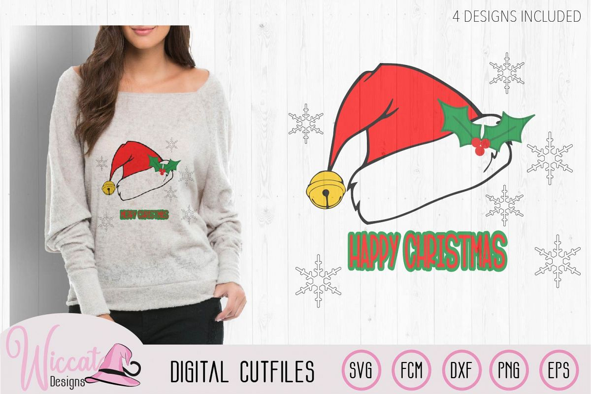 Christmas hat svg, Happy and Merry Christmas example image 1