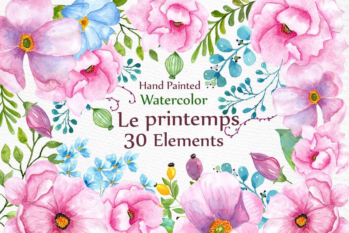 Watercolor pink  flowers clipart example image 1