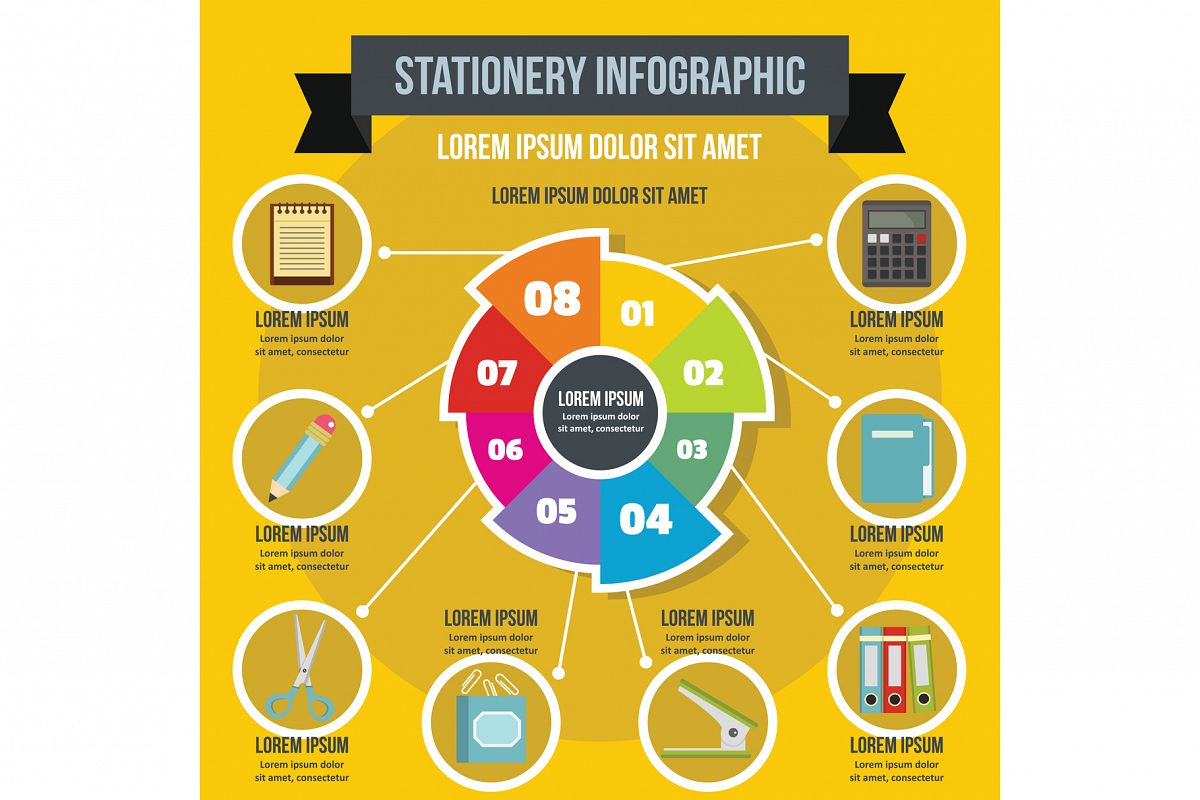 Stationery infographic concept, flat style example image 1