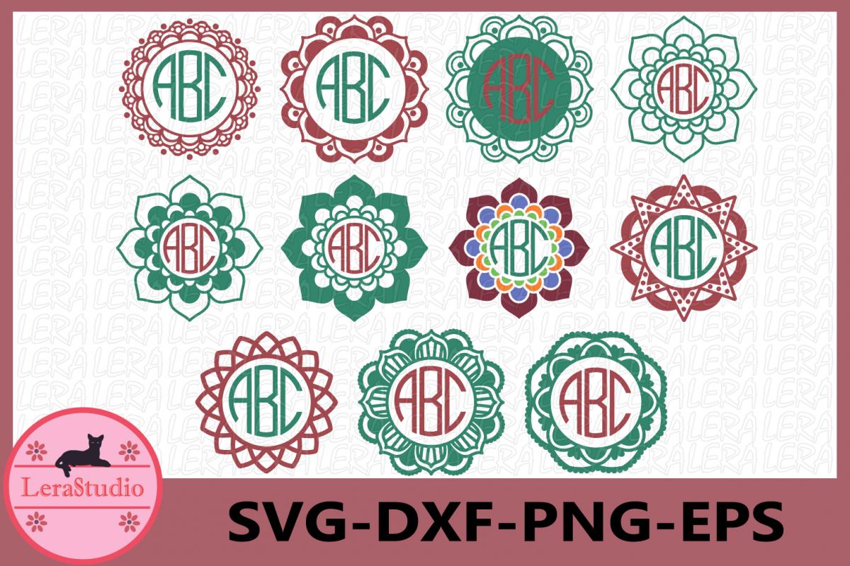 Mandala Circle Monogram svg, Mandala svg, Mandala Monogram example image 1