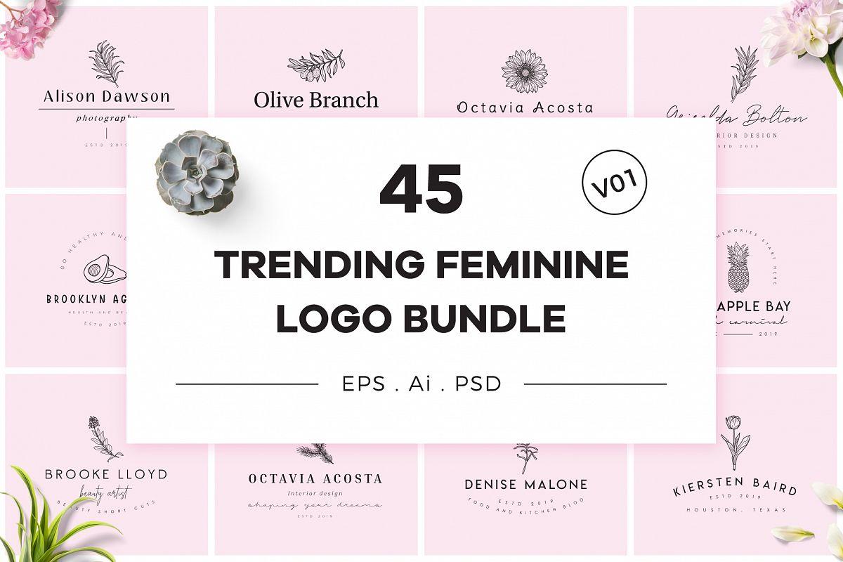 Trending Feminine Logo Bundle V01 example image 1