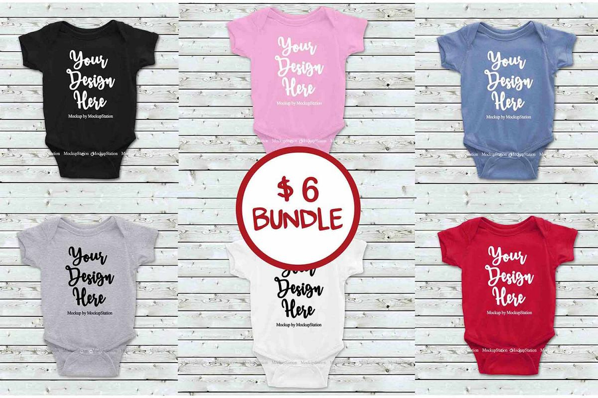 Basic Baby Bodysuit Mockup Bundle, Toddler Newborn One Piece example image 1