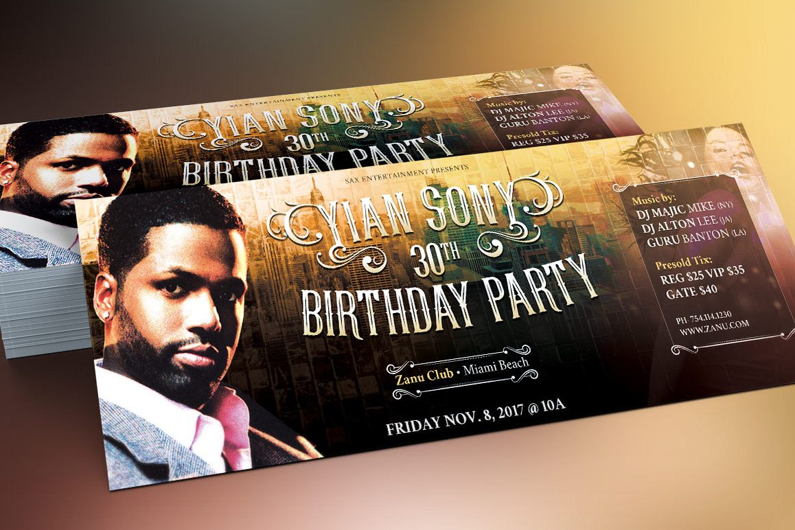 Hipster Birthday Party Flyer Template example image 1