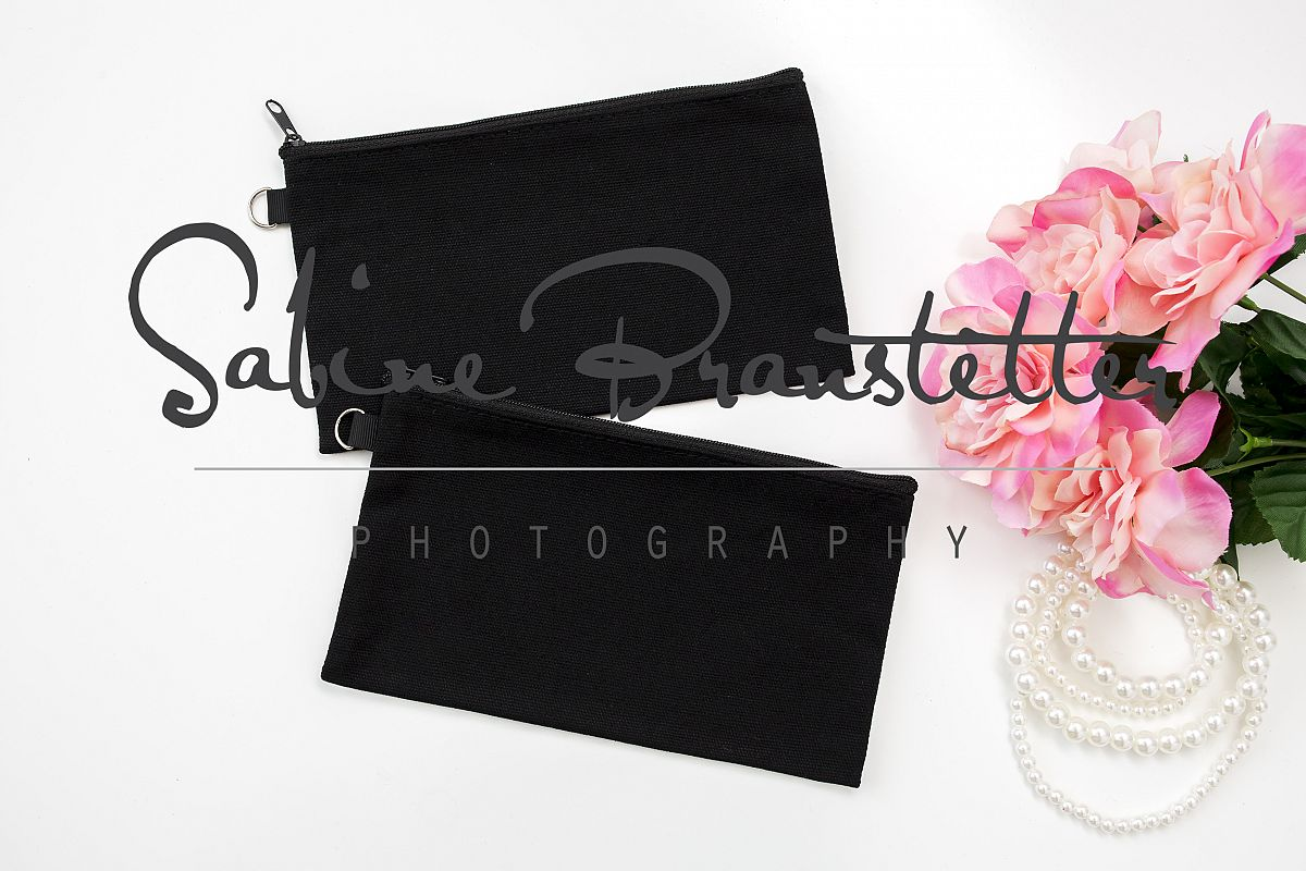 Styled Stock Photography Two Black Makeup Bags Mockup example image 1
