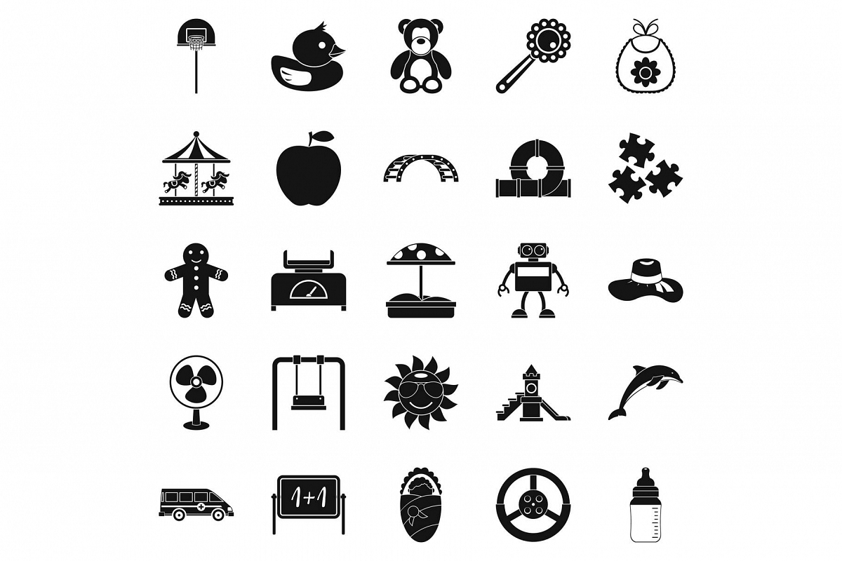 Children spontaneity icons set, simple style example image 1