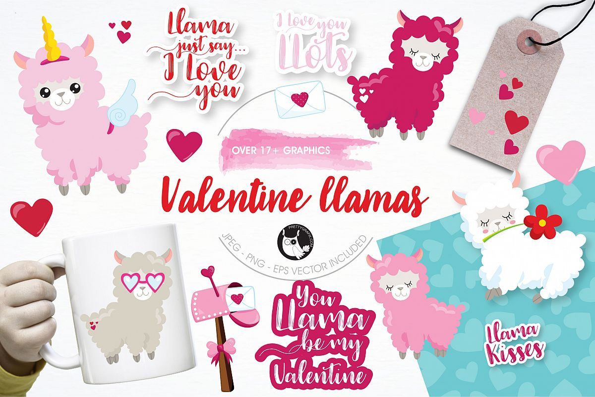 Valentine llamas graphics and illustrations example image 1