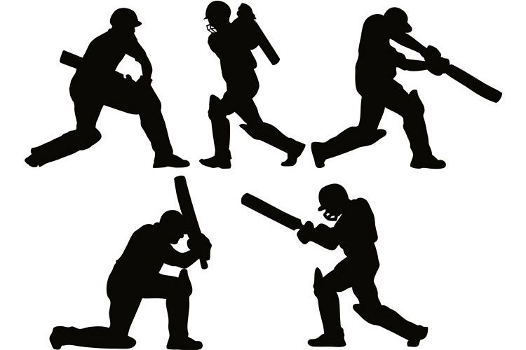cricket player batsman batting silhouette example image 1