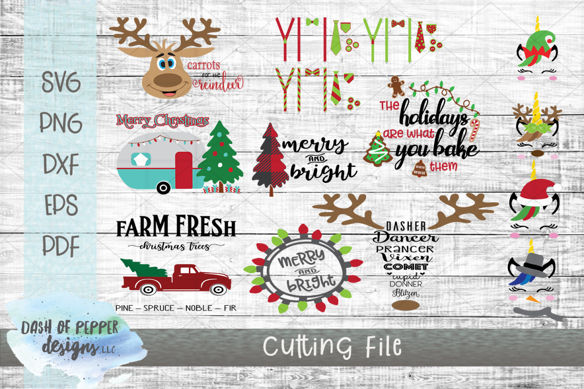 2018 Christmas Bundle - 12 SVG Designs example image 1