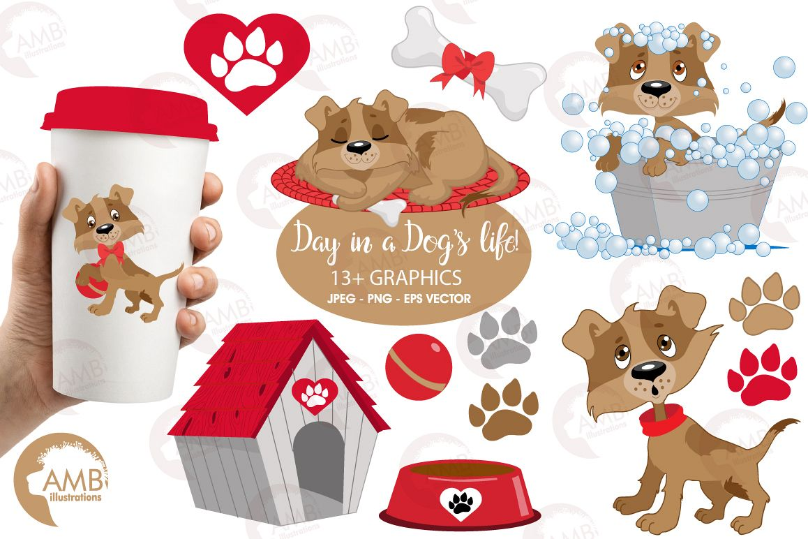 Day in a dog's life clipart, graphics, illustrations AMB-594 example image 1